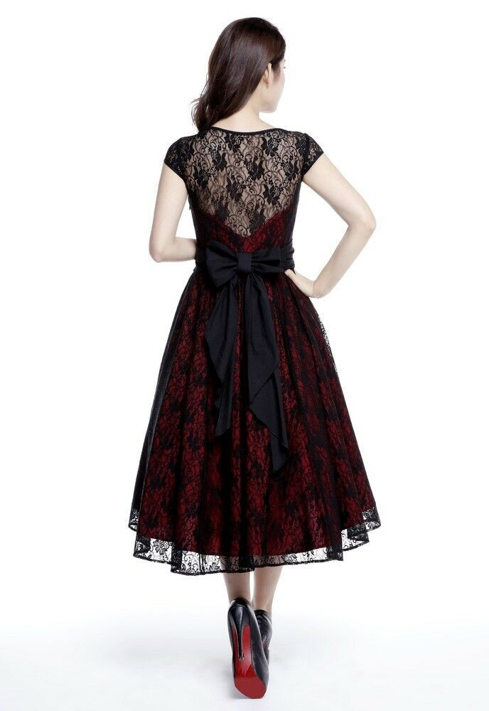 Black Lace Rockabilly Dovetail Retro 1950s Swing Dress Vintage 50s Pin Up Party