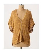 Moth Anthropologie Yellow Orange Southern Breeze Hooded Cardigan Sweater... - £21.19 GBP