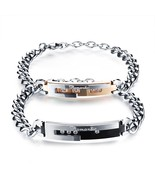 Romatic Matching Couples Bracelet Set Stainless Steel Curb Link Wrist - £20.68 GBP