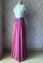 2021 Floor Length Chiffon Skirt High Waist Wedding Skirt Outfit Plum Plus Size  image 7