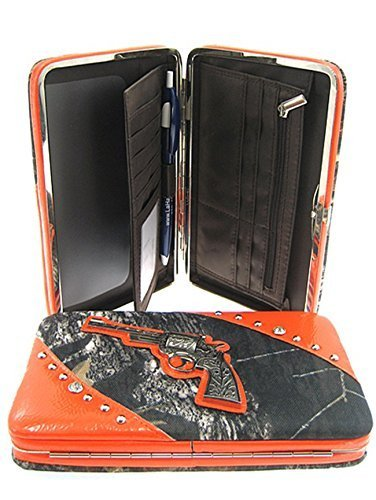 Mossy Leaf Camo Gun Pistol Flat Wallet Clutch Purse (Orange Trim)