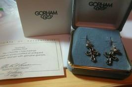 Vintage GORHAM Antiqued Sterling Silver Garnet Chantilly Cross Earrings ... - $150.00