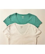Green White T Shirts V Neck Cotton Tops Cap Sleeve Size M Kirkland Set of 2 - $22.00