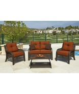 Northcape CHELSEA 4Piece Cappuccino Wicker Patio Loveseat Chairs Table F... - $1,488.70