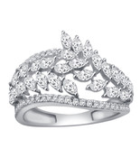 1.00 Ct Marquise & Round Cut Natural Diamond Engagement Ring In White Gold - $935.54+