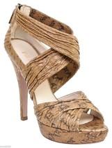 PRADA Sandal Platform Tan Snakeskin Leather Shoe Open Toe Pump Ankle Str... - $231.56