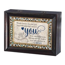 Roman Recipient Collection Grateful For You Jeweled Music Box Brown Large - $52.38