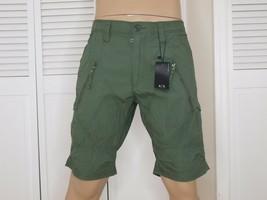 Armani Exchange Originale Utilità Zip Dettaglio Shorts Verde Nuova con Etichetta - $42.98