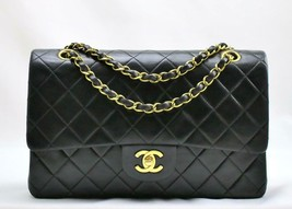 "CHANEL MEDIUM 10"" Vintage Black LAMBSKIN Leather Flap Bag 24k GH AUTHENT... - $3,037.02"