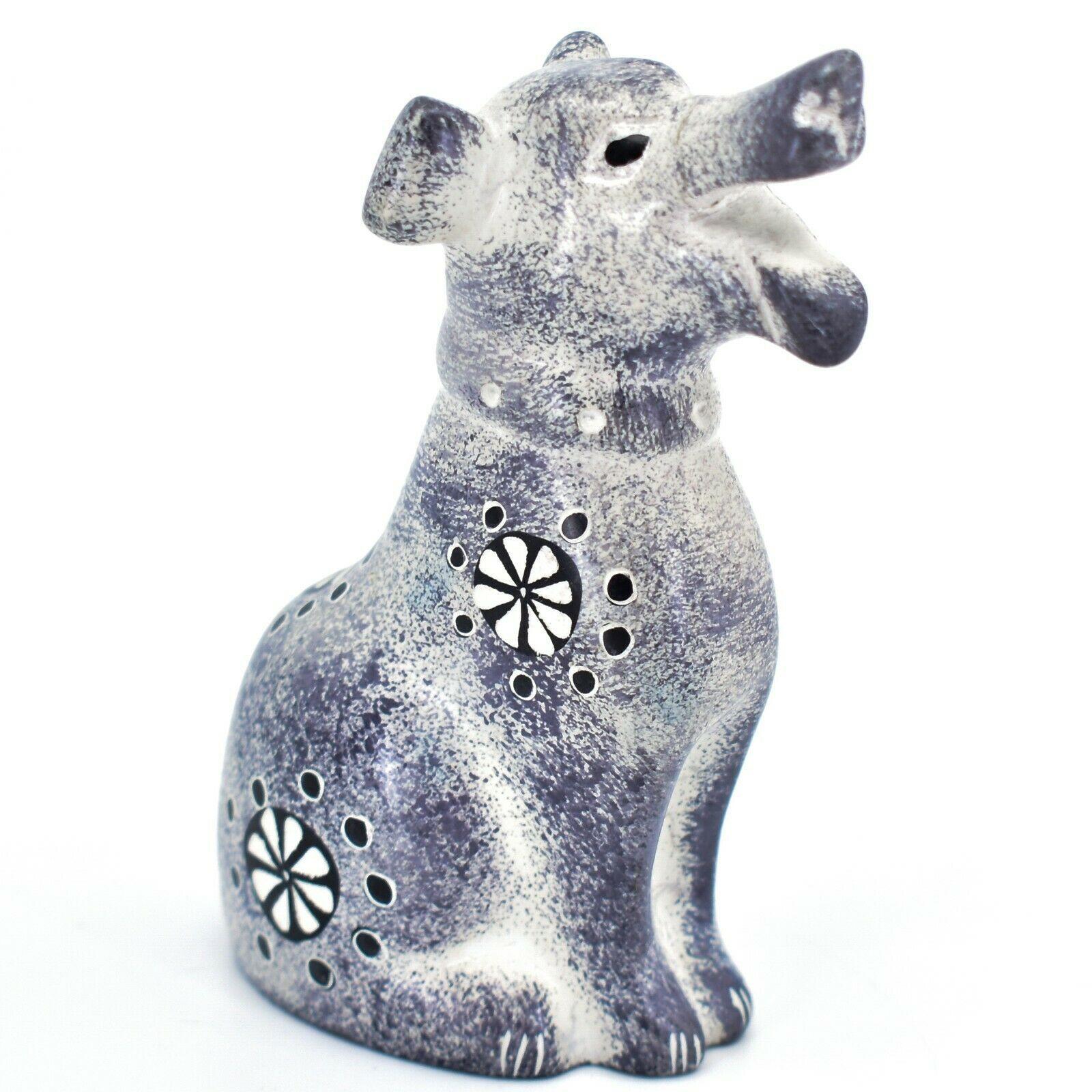 Hand Carved Kenyan Kisii Soapstone Speckled Gray White Happy Puppy Dog Figurine