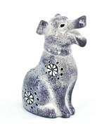 Hand Carved Kenyan Kisii Soapstone Speckled Gray White Happy Puppy Dog F... - $17.81