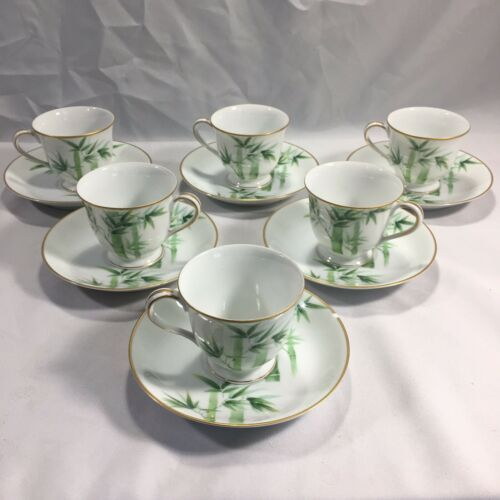 NORITAKE 1940'S Green Bamboo Demitasse Tea Coffee Set 1538G NIPPON TOKI KAISHA