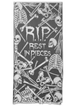 "Heritage Lace Pewter Rest In Pieces 38""x76"" Halloween Window Or Door Panel - £22.34 GBP"