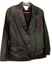 Chadwicks Black Leather Blazer Jacket wtih lapels 100% Genuine Leather S... - $47.49