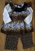 SWEET Girl's Sz 12 M Months 2 Pc Brown Sheer Animal Print L/S Top & Velo... - $18.00