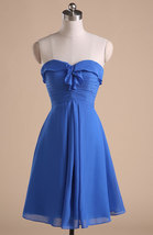 Short Chiffon Women Dress Sweetheart Neck Above Knee Blue Dress LC052841 - $39.90