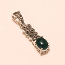 Thailand Marcasite & Grass Green Onyx Gemstone Sterling Silver Pendant Jewelry - $16.21