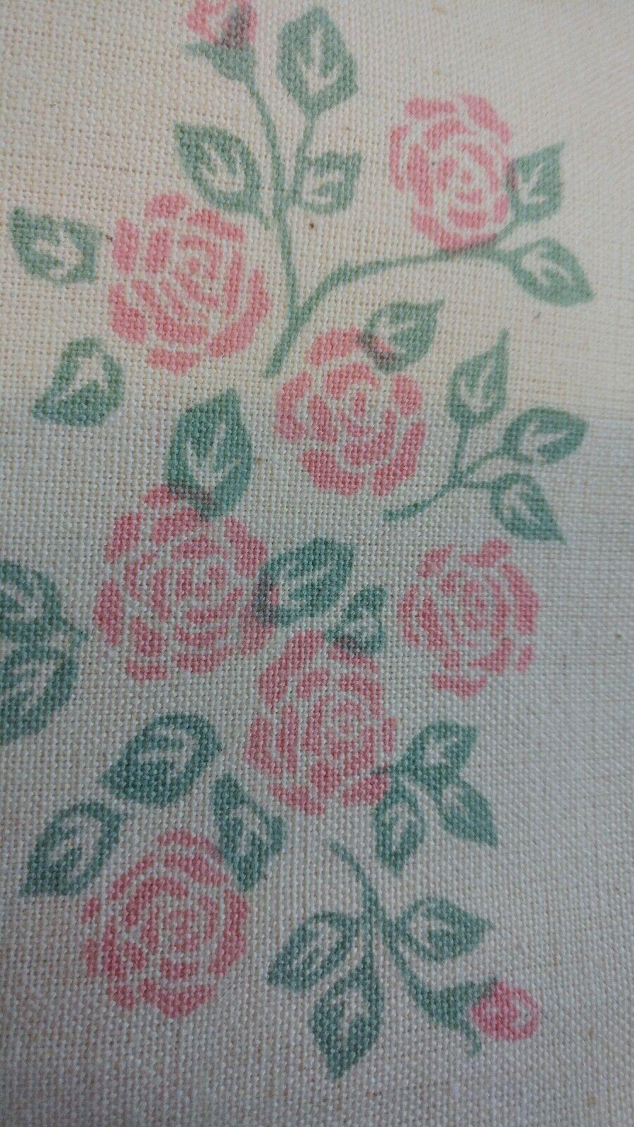 Vintage Dish Tea Towels Rose Floral on Beige Cream 100% Cotton  NWT Lot of 6