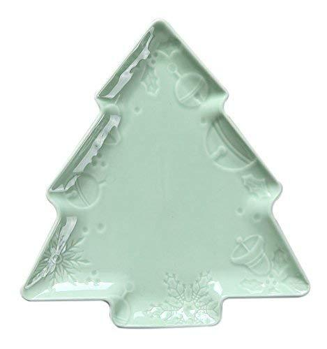 Primary image for Creative Cute Ceramic Party Meal Plate, Green Christmas Tree Shape