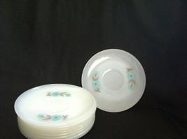 Vintage Fire King White Milk Glass Saucer with Bonnie Blue Flower Pattern - $2.99