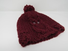 Handcrafted Knitted Hat Beanie Cranberry Acrylic/Wool Owl Pom Pom Female... - $39.84