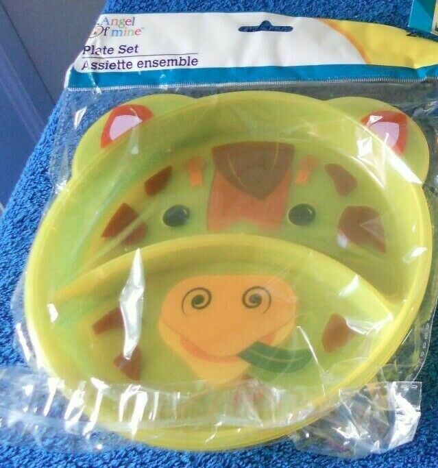New Giraffe Childrens 3 pc Set Divided Plates Snacks  Cup