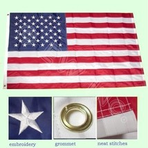 New 3 x 5 Ft American USA Nylon Flag Sewn Stripes with Embroidered Stars - $8.20