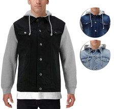 Men's Two Tone Jean And Grey Jersey with Removable Hood Denim Trucker Jacket image 1