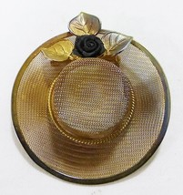 Vintage hat pin brooch gold tone mesh flower leaves and rose accent - $16.83