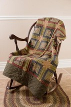 Tea Cabin Hand-quilted Throw - Log Cabin/Stars - VHC Brands - Country Farmhouse