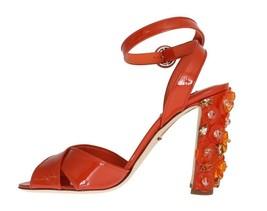 Dolce & Gabbana Women Orange Leather Crystal Sandals Sz EU39/US8.5 - $340.96