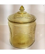 """Depression Glass Patrician """"Spoke"""" Cookie Jar & Lid Cover Amber 7h x 5w - £46.62 GBP"""