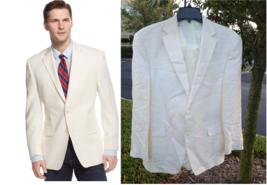 $295 Lauren Ralph Lauren Solid Linen Sport Coat, Off White, 46 Reg - $197.99