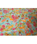 Timeless Treasures Mermaid Cotton fabric Gold Metallic Seahorse Coral Se... - $30.00