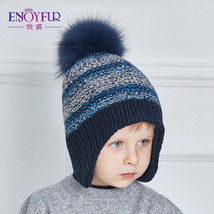 Winter Hat Cap Boy Pompom Kids Knitted Warm Beanie Crochet Ball Thick Co... - $20.22+