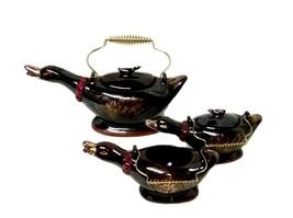 Redware Teapot Cream Sugar Duck Set Japan Tea Pot Kettle Vintage Brown G... - $38.77