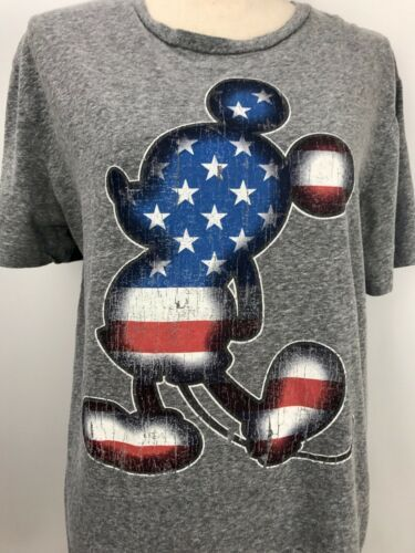 Primary image for Disney Patriotic Mickey Mouse Gray Graphic T Shirt American Flag Size M