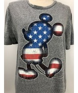 Disney Patriotic Mickey Mouse Gray Graphic T Shirt American Flag Size M - $19.79