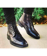 Mens Handmade Decent Style Black Leather Captoe Formal Lace Up Boot - $166.73+