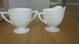 Indiana White Milk Glass Orange Blossom Flower & Leaf Band Creamer & Sugar Bowl - $22.00