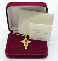 Camrose Kross Jacqueline Kennedy JBK Simulated Ruby Celtic Cross Necklac... - $59.39