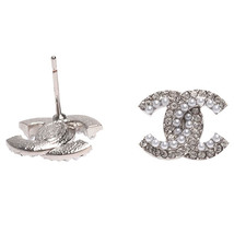 SALE***Authentic Chanel CC Logo Crystal Strass Silver Stud Earrings  image 2