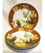 William Sonoma SET OF FOUR Rimmed BOTANICAL PUMPKIN Salad Dessert Plates... - $65.00