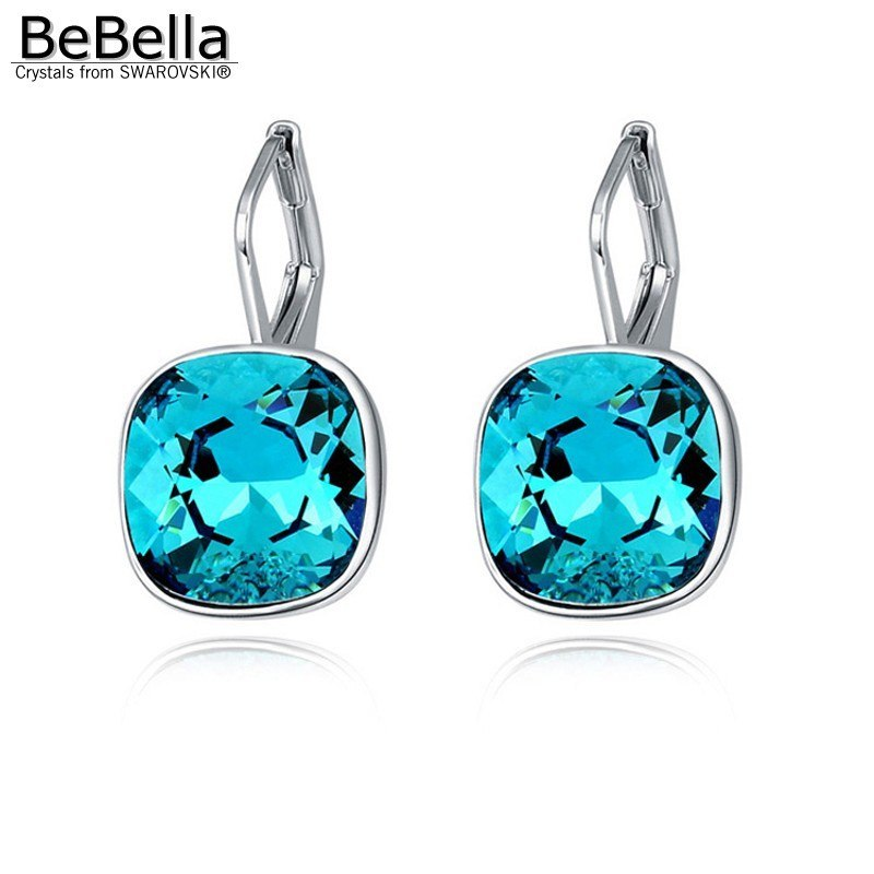 BeBella square bella crystal pierced drop earrings with Crystals from Swarovski