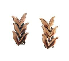 Vintage Renoir Copper Leaves Clip On Earrings - $16.95