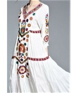 FRMZ 100% Cotton Boho White Multicolor Floral Embroidered Loose Dress Sz.M  - $39.97