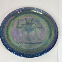"Vintage Indiana Glass Blue Carnival Glass Plate 8"" USA Bicentennial circa 1976 - $10.00"