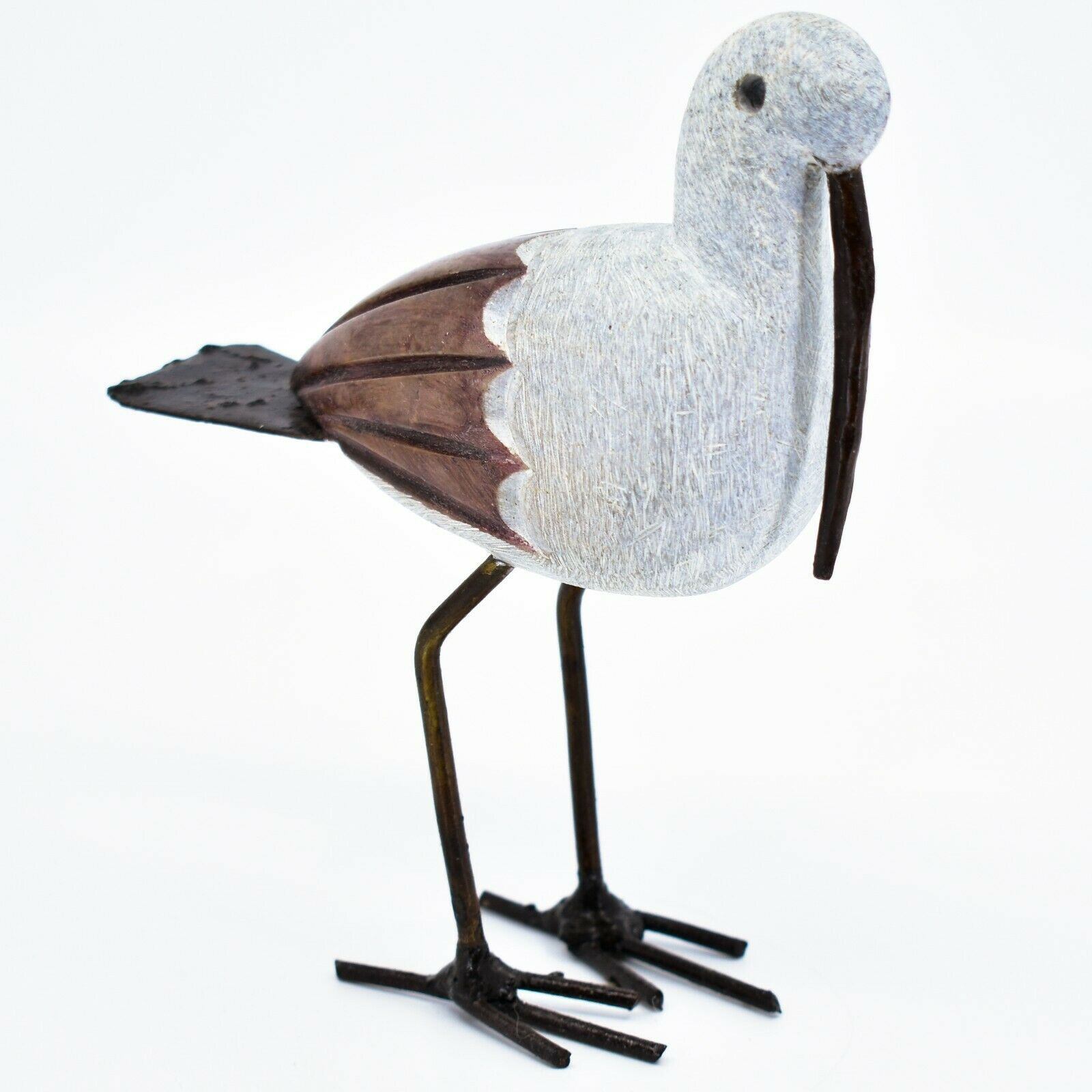 Handmade Serpentine Stone Recycled Metal African Stork Bird Sculpture Zimbabwe
