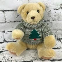 Hallmark Teddy Bear Plush Tan Sitting Soft Stuffed Animal Wearing Tree S... - $14.84