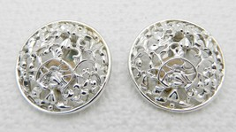 Vtg 1950's Sarah Co Ventry Signed Patent Silver Tone Frozen Lace Clip Earrings - $6.93